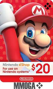 $20 USD Nintendo eShop Card - Nintendo Switch/3DS/WiiU - Digital Code - [US]