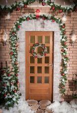Photography Background Christmas Studio  Door wreath Props Backdrops 5x7ft Vinyl