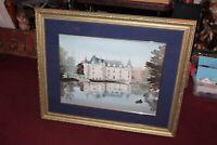 Michel Delacroix Painting Print Mansion Castle Water Boat Signed Framed