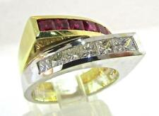 Absolutely Gorgeous Made in ITALY 18 KT Two Tone Ruby and Diamonds Ring 6.5