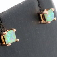 Green Australian Fire Opal Earrings Women Engagement Jewelry Rose Gold Plated
