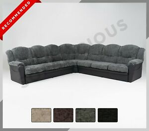 NEW TEXAS EXTRA EXTRA Large Corner Sofa Chenille & Faux Leather 7 Seater Black