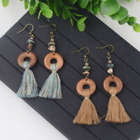 Fashion Bohemian Round Colorful Tassels Dangle Women's Vintage Earrings Jewelry