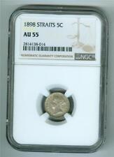 STRAITS SETTLEMENTS 1898 QUEEN VICTORIA 5 CENTS NGC AU-55