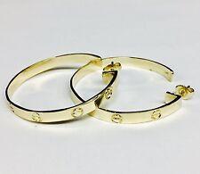 14k Solid Yellow Gold 43mm Hoop Type Fancy Nail Head Earring On Post 12 Grams