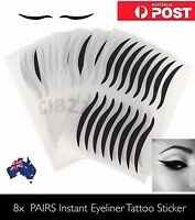 8x PAIRS Eyeliner Sticker Tattoo Easy Winged Eye Lid Black Shadow Instant Makeup