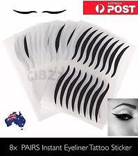 8x PAIRS Eyeliner Sticker Tattoo Easy Winged Eye Lid Black Shadow Instant Makeup