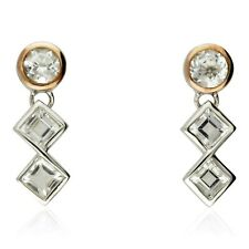 NEW CLOGAU GOLD & SILVER WELSH ROYALTY TOPAZ DROP EARRINGS Ref: 3SQAE