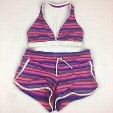 Athleta Tulum T-back Striped Bikini Top Shirt Bottom Swimsuit Bathing Pink Small