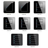 1/2/3/4 Gang 1/2 Way Modern Wall Light Switch Panel Push Buttons LED-Indicator