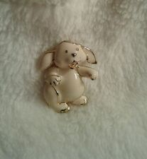 Vintage SFJ Goldtone  Bunny White Enamel Brooch