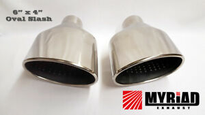 """6"""" x 4"""" Oval Dual Exhaust Tailpipes Tips Chrome Audi TTRS RS Golf Scirocco R"""