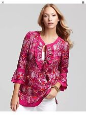Size 0 Tory Burch Gwenna Floral Silk Blend Habanero Tunic Top NWT $375