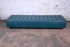 Edward Wormley for Dunbar Custom Tufted Blue Leather Long Benches, Two Available