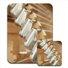 Shining Silver Gold Clubs with Nine Iron on Rack Mouse Mat / Pad & Coaster