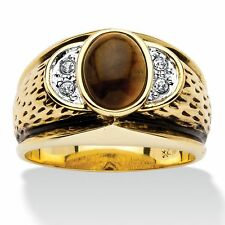 MENS 14K GOLD OVAL SHAPE CRYSTAL ACCENT TIGERS EYE GP RING SIZE 8 9 10 11 12 13