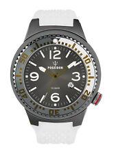 POSEIDON Herren-Armbanduhr XL Slim Analog Silikon UP00391 Weiß/Grau UVP 139,- €