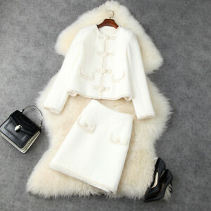Christmas wholesale runway Crew neck Long sleeves Button top sexy Skirt suit