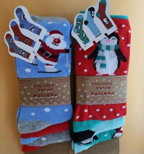 Pack of 3 Ladies' Novelty Christmas Socks, 2 designs, size 4-8