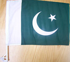Pakistani Car Flag With Unbreakable Stick 12'x16' Clips into car Window
