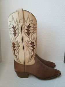 Dan Post Women's Cowboy Boots Western Leather Brown Beige Two-Tone Size 6 M