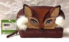 Kate Spade PWRU6695 So Foxy FOX Small ABALENE Cosmetic Case Bag Brown Maroon NWT