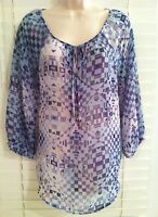 NEW Nine West Vintage America Size Small Blue Blouse Peasant Top 3/4 Sleeve NWT