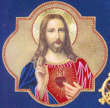 """Sacred Heart of Jesus Hand Embroidered Gold Metallic Vestment  Applique 9"""" x 9"""
