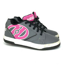 Heelys Girls Propel Terry Gray Pink Nylon Rolling Sneakers Shoes Lace Up Size 4