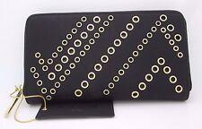 Dream Control Women Wallet Black Zip Round Gold Metal Enhancement Clutch NWT