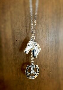 """Antique Silver Horse Head with Horseshoe Pendant Necklace w/ 25"""" Stainless Chain"""