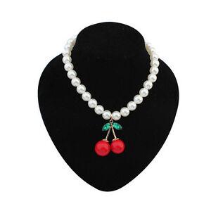 New Fashion Women Cherry pearl necklace collarbone chain Jewelry White Hoc