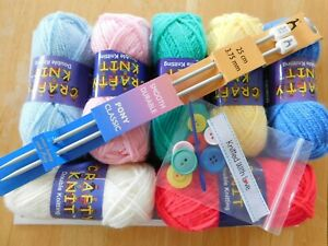 BEGINNERS KNITTING KIT Learn to Knit Complete Instructions Patterns Needles YARN