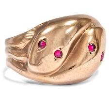 Victorian um 1900. Antiker Schlangen Ring, 333 Gold & Rubine, Serpent Promise