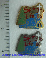 SPRING TO LIFE KINGS CALVARY 1986 & 1988 Lapel Hat Pin Badge Pinback