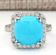 6.70 Carat Natural Turquoise 14K White Gold Diamond Ring