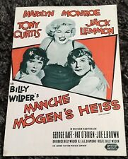 SOME LIKE IT HOT 8pg German program '59 Marilyn Monroe, different