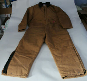 """Dickies Size XXL 50""""-52"""" Chest Duck Tan Brown Quilt Lined Insulated Coveralls"""