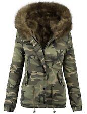 Damen Designer Winter Jacke Camouflage Army Parka Winterjacke Fell Khaki L  C5 420062a490