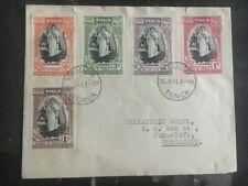 1944 Tonga Toga Cover Complete Set Of Stamps To Tongatabu