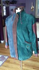 Multi-Colored Genuine Suede Jacket 2 Large Pockets Zipper Front Size L