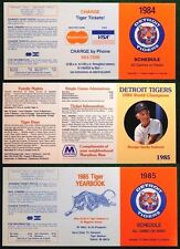 Detroit Tigers 3 MINT Schedules World Champions 1984 1985 Tiger Stadium Unfolded