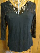 Womens Medium Self Esteem Black V-Neck Top Lace Sleeves/Bodice