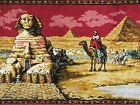 ANTIQUE WALL TAPESTRY RUG EGYPTIAN REVIVAL ART DECO SPHINX PHARAOH PIRAMID CAMEL