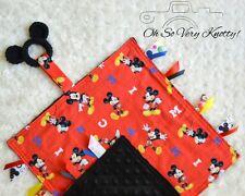"""Handmade Disney Mickey Baby Sensory Ribbon, Tag, Lovey Security Blanket 12""""x12"""""""