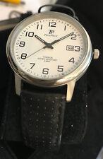 Clásico Hombre Reloj Aus Titanio Árabe Blanco Esfera Fecha