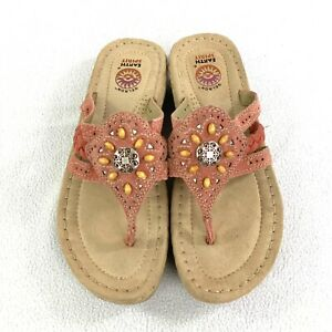 Earth Spirit Gelron 2000 Beaded Suede Womens Thong  Sandals Size 7