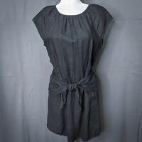 Joie Womens Dress Small Black Adoette Linen Mini Short Sleeve Tied Front Casual