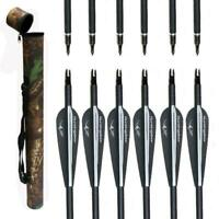 12X Archery 31'' Carbon Arrows Hunting & Camo Quiver for Recurve Compound Bow