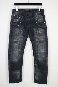 K&M Jeans KOSMO LUPO Men's W32 L32 Embroidered Faded Pockets Jeans 35744_GS